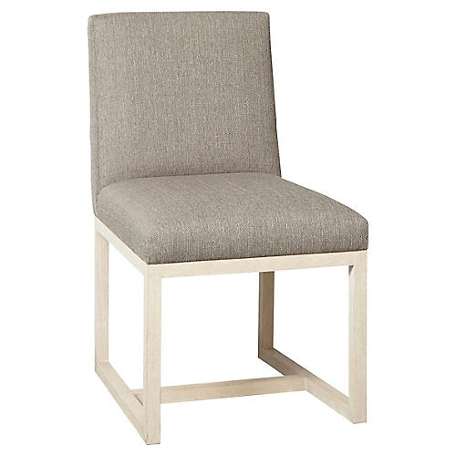 Carter Side Chair, Ivory/Silver Gray Crypton