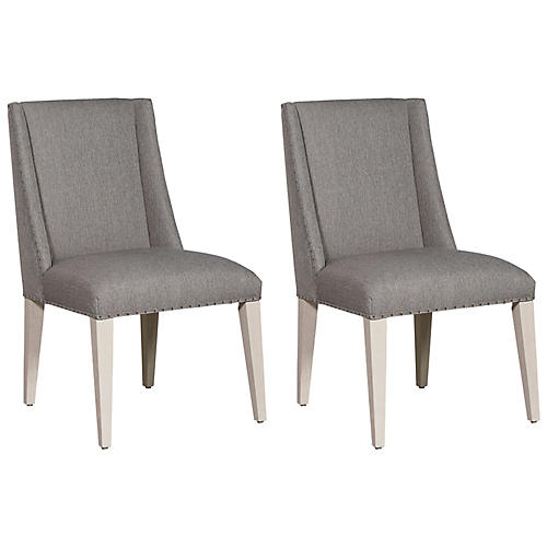 S/2 Tyndall Side Chairs, Ivory/Sky Silver