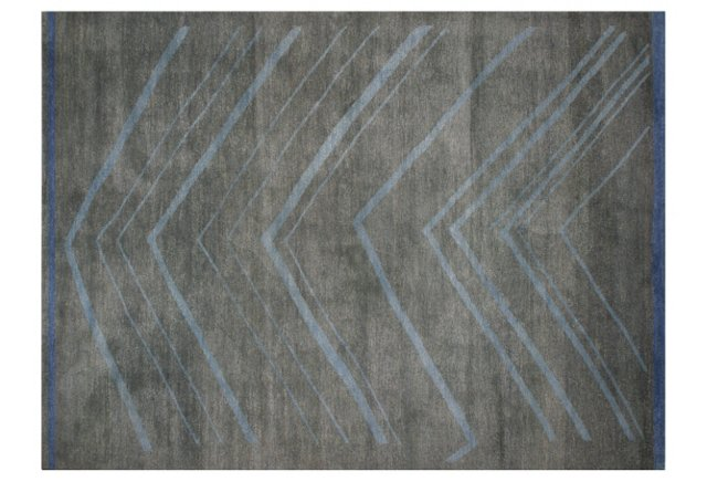 5' x 7' Tracy Rug, Gray-Green/Sky Blue