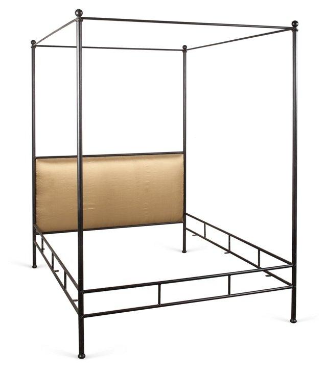 Steel Four-Post Bed, Queen