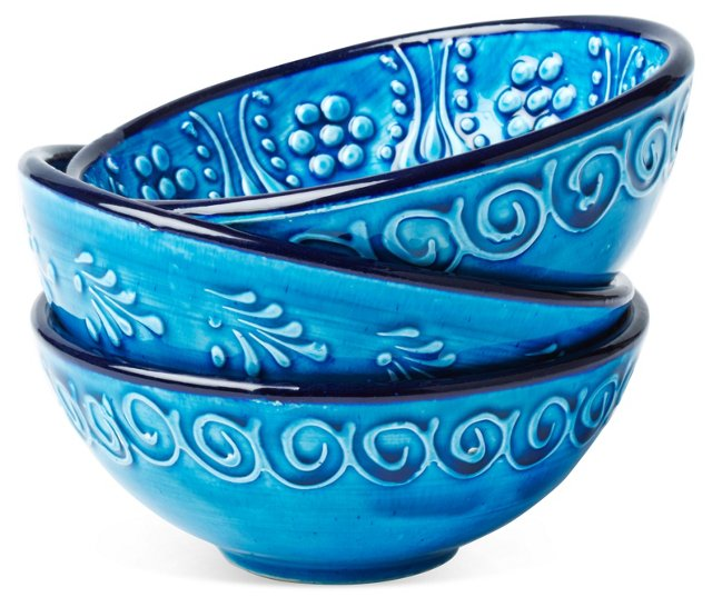 S/3 Hand-Painted Bowls, Blue