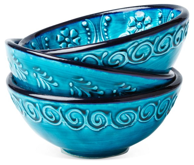S/3 Hand-Painted Bowls, Turquoise