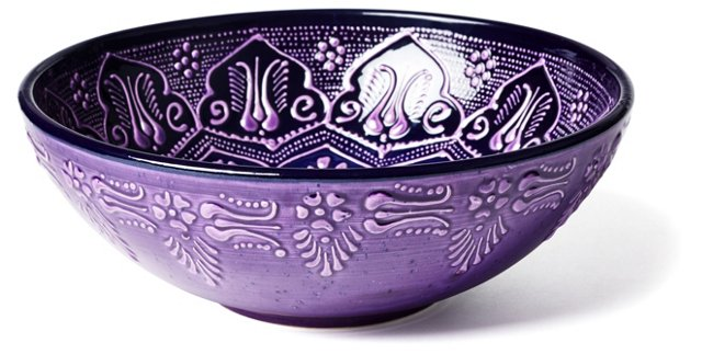 Hand-Painted Serving Bowl, Purple