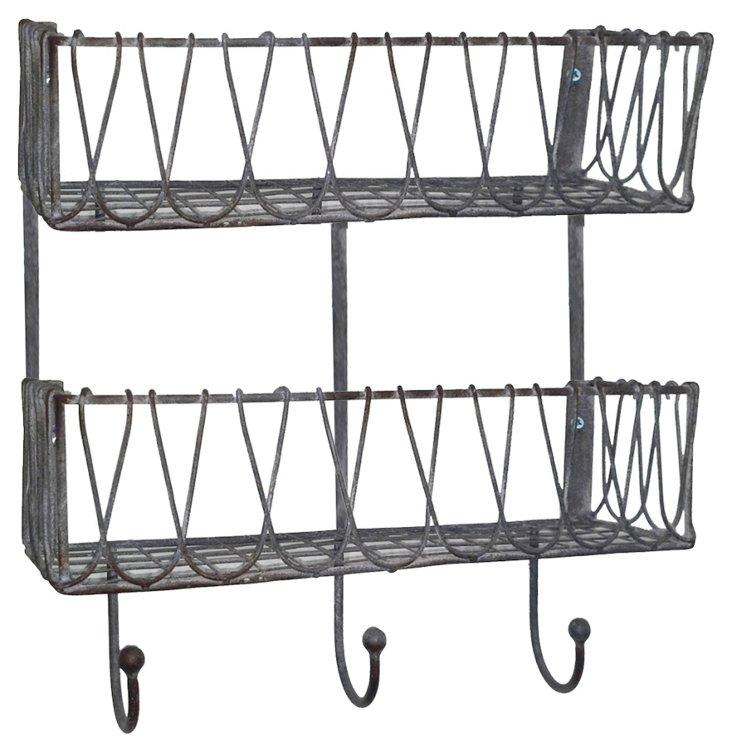 Double Metal Shelf Rack w/ 3 Hooks