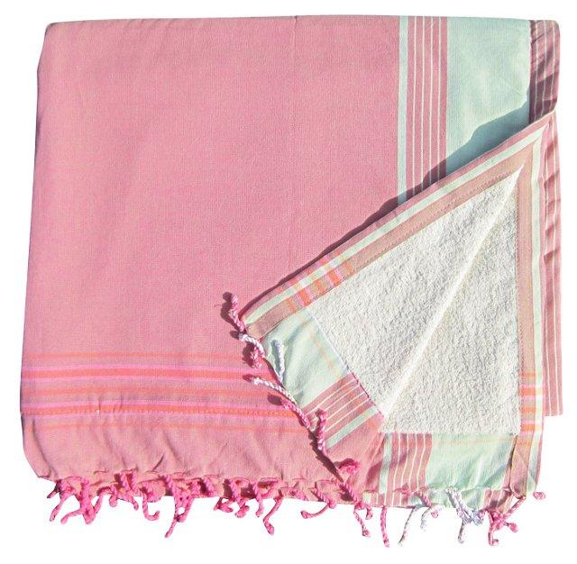 Sarong Towel, Pink/Green
