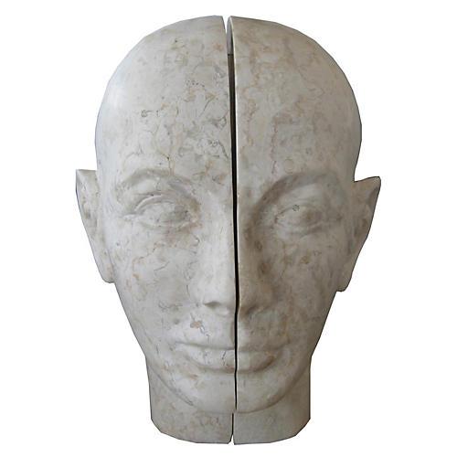 Split Stone Bookends, Gray