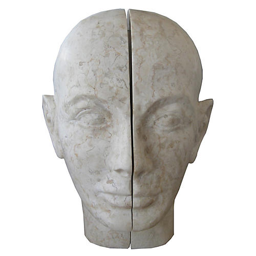 Split Stone Bookends, Gray
