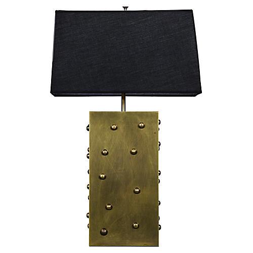 Strongbox Lamp, Antiqued Brass