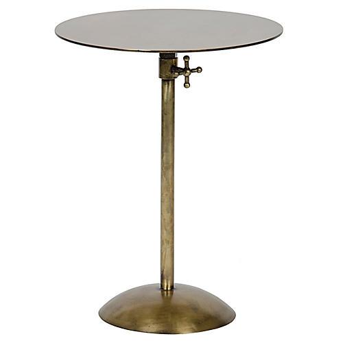 Felix Adjustable Side Table, Brass