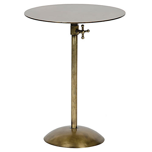 Felix Adjustable Side Table, Brass