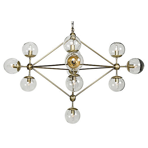 Pluto Chandelier, Brass