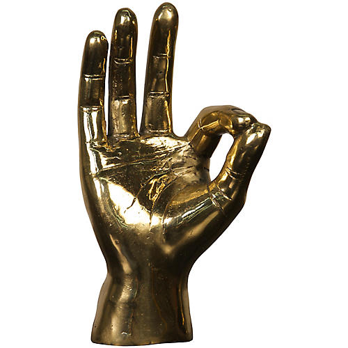 "9"" OK Sign Figurine, Gold"