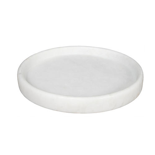 "16"" Round Decorative Tray, White"