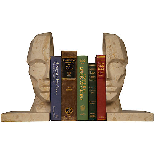 S/2 Marble Face Bookends, Beige