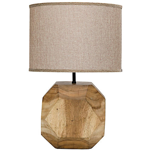 Loraine Teak Table Lamp, Natural