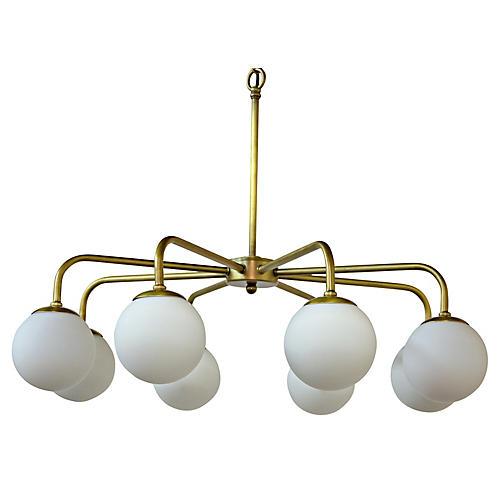 Larenta 8-Light Chandelier, Brass/White