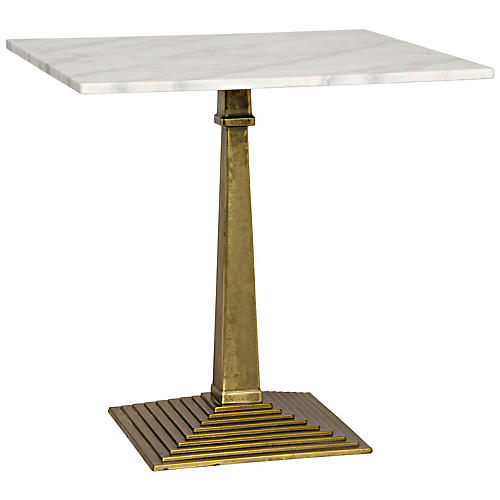 Fadim Side Table, White/Antiqued Brass