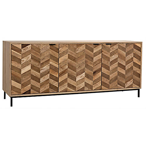 Herringbone Sideboard, Washed Walnut