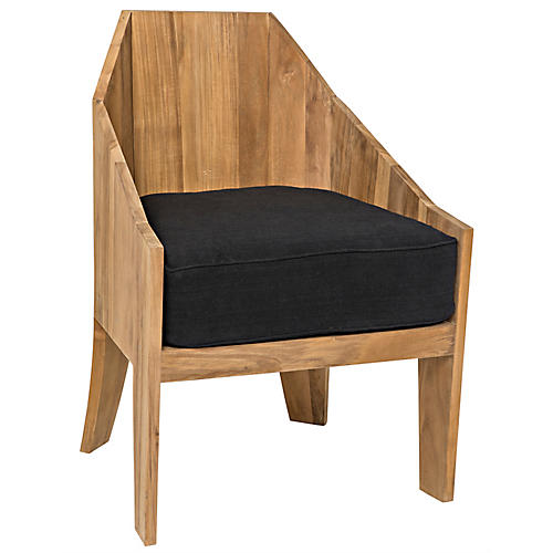 Sheba Accent Chair, Black/Natural