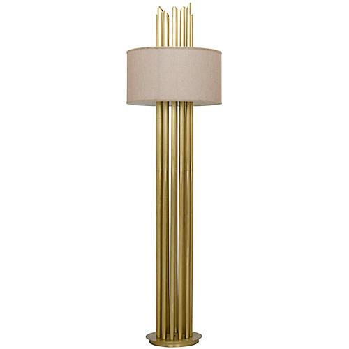 Yves Floor Lamp, Antiqued Brass