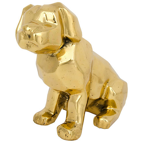 "10"" Sitting Dog Figurine, Brass"