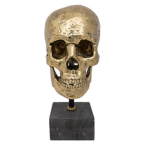 "12"" Skull on Stand Accent, Brass"
