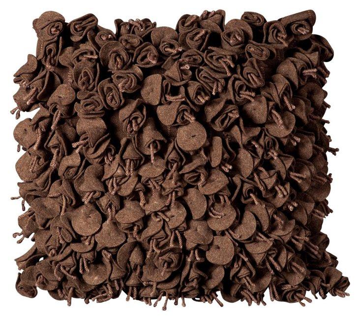 Rosebuds 20x20 Pillow, Chocolate