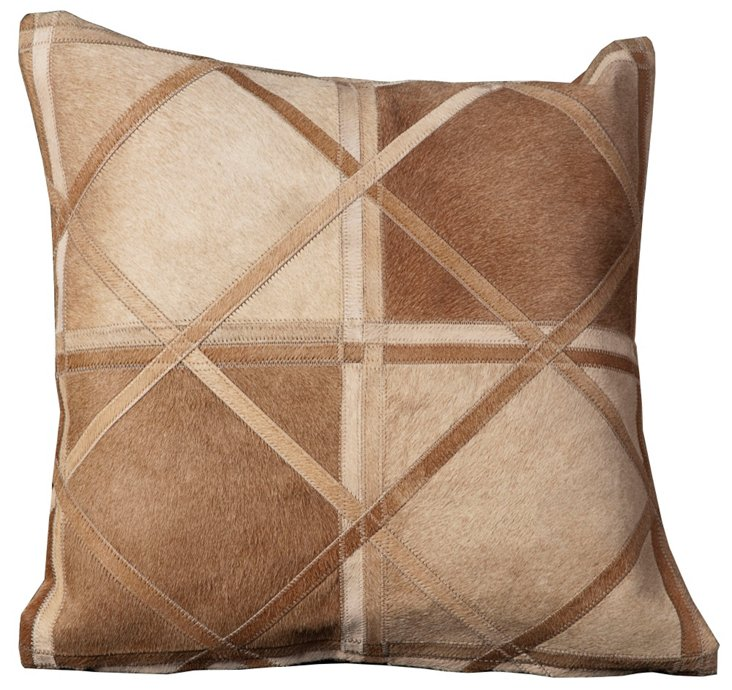 Crossed Hide 20x20 Pillow, Beige