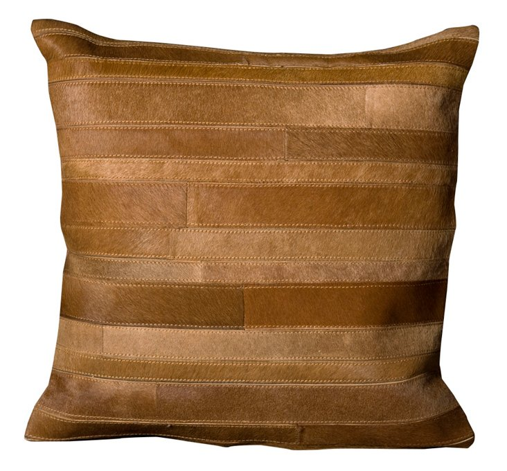 Blocked 20x20 Hide Pillow, Amber