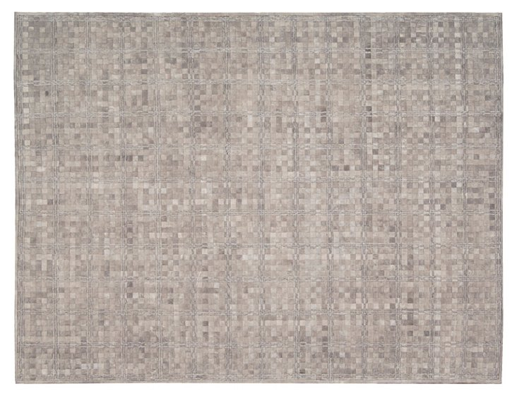 Ash Leather Blend Rug, Gray