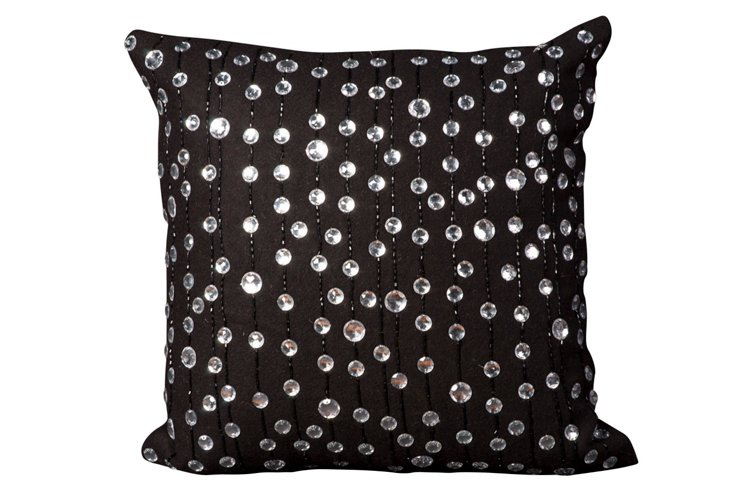 Raindrop 20x20 Pillow, Black