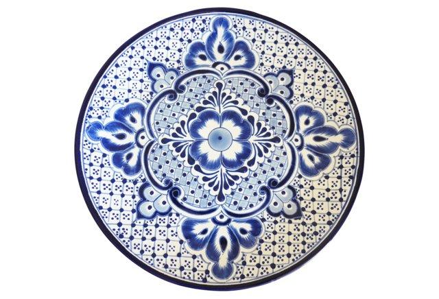 Talavera II Round Plate, Blue/White