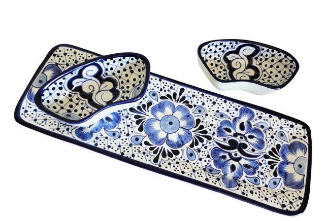 3-Pc Tray & Bowls Set, Blue/White