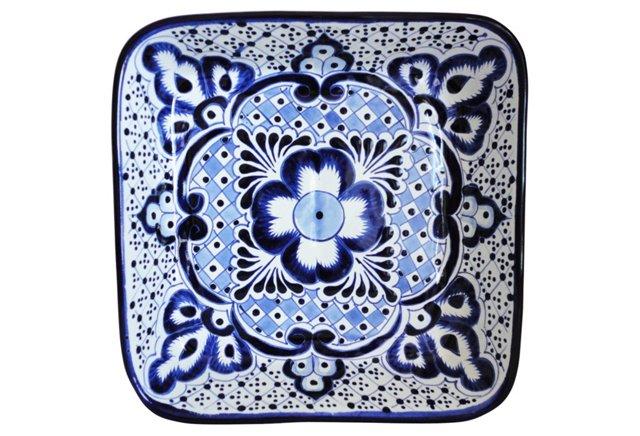 2-Pc Platter & Bowl Set, Blue/White