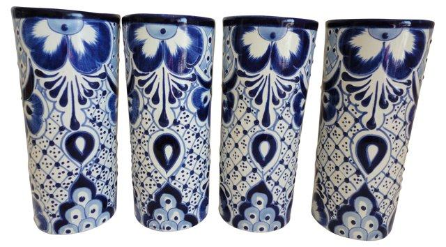 S/4 Highball Glasses, Blue/White