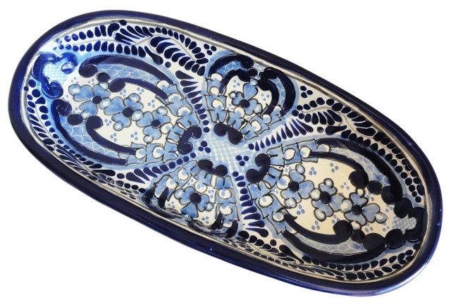 Oval Platter, Blue/White