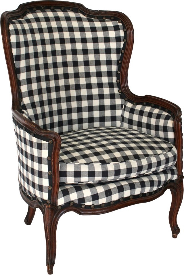 Black & White Wingback Chair