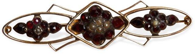Victorian Gold Pin w/ Garnets & Pearls