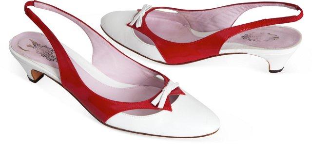 Lulu Guiness Red & White Kitten Heels.