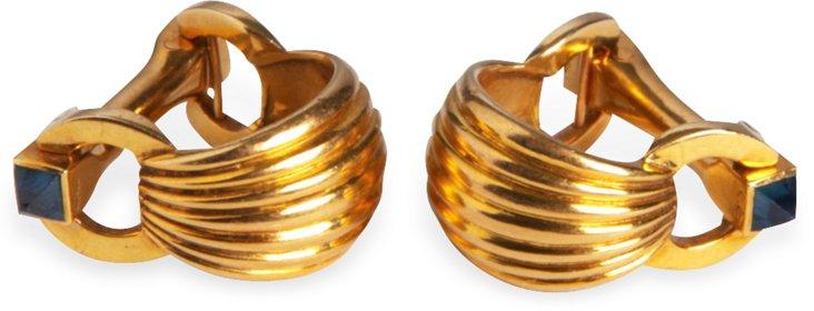 18K Yellow Gold & Sapphire Cufflinks