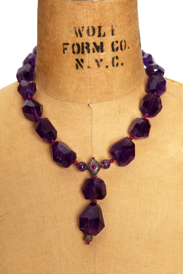 Amethyst, Ruby & Diamond Necklace