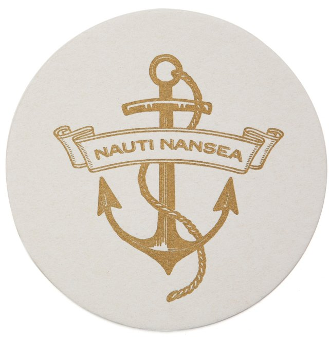 100 Custom Letterpress Coasters, Anchor