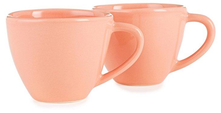 S/2 Large Ceramic Mugs, Coral
