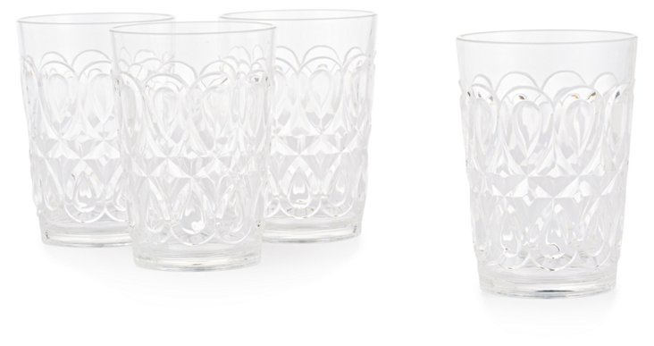 S/4 Swirly Embossed Tumblers, Clear