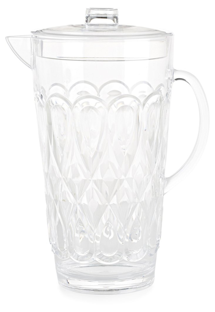 Large Swirly Embossed Jug, Clear