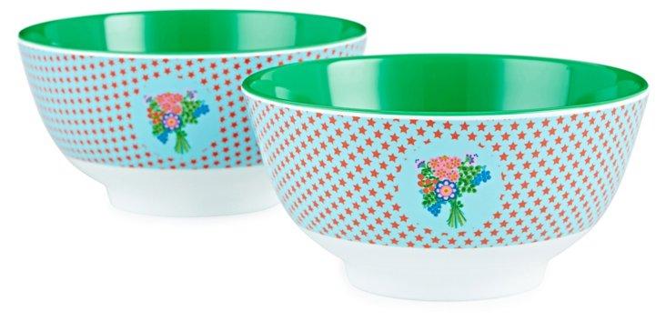 S/2 Two-Tone Melamine Bowls, Star