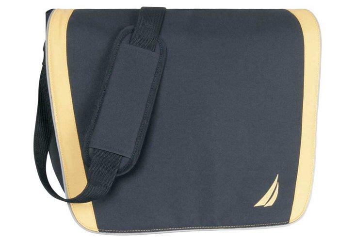 Nautica Messenger Bag, Navy/Yellow
