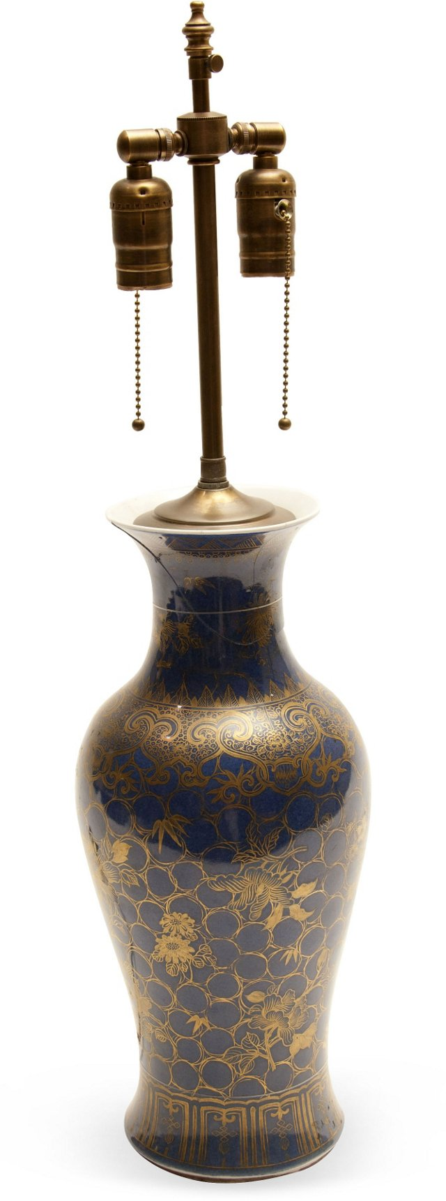 Blue & Gold Vase Lamp II