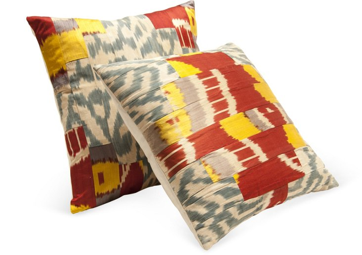 Silk Ikat Pillows, Pair I