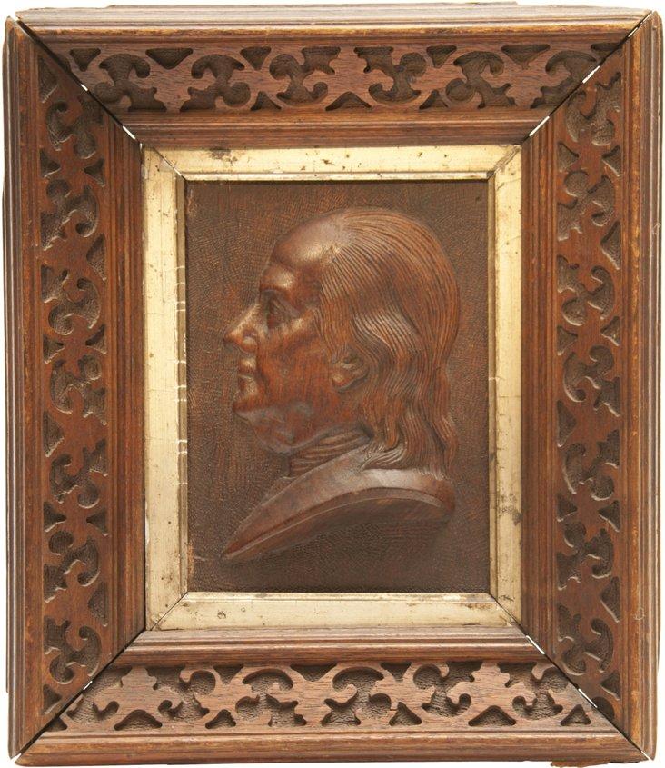 1870s Plaque of Benjamin Franklin